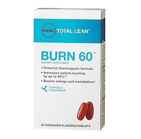 ДжиЭнСи (GNC) Сжигатель жира 60 (BURN 60 - Cinnamon Flavored) вкус корица таблетки 60 шт., упак.