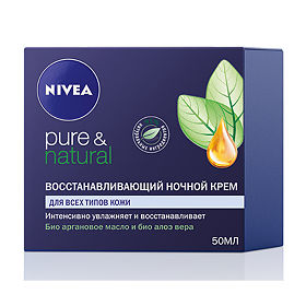 Крем восстанавливающий ночной Нивея (Nivea) Pure Natural 50 мл, упак.
