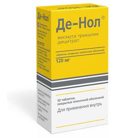 Де-Нол, таблетки 120 мг, 32 шт. - купить, цена и отзывы, Де-Нол, таблетки 120 мг, 32 шт. инструкция по применению, дешевые аналоги, описание, заказать в Москве с доставкой на домLogo of EaptekaElements/Icons/sale/normalElements/Icons/sprinkler/normalElements/Icons/doctor-bag/normal CopyElements/Icons/nose/normalElements/Icons/cistit/normalElements/Icons/sprinkler/normalElements/Icons/more/normal